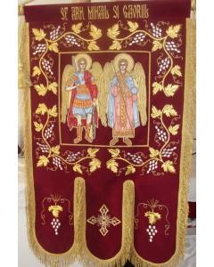 Prapor brodat Sf.Arh Mihail si Gavril